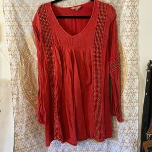 Red tunic xl ananda collection embroidered detail